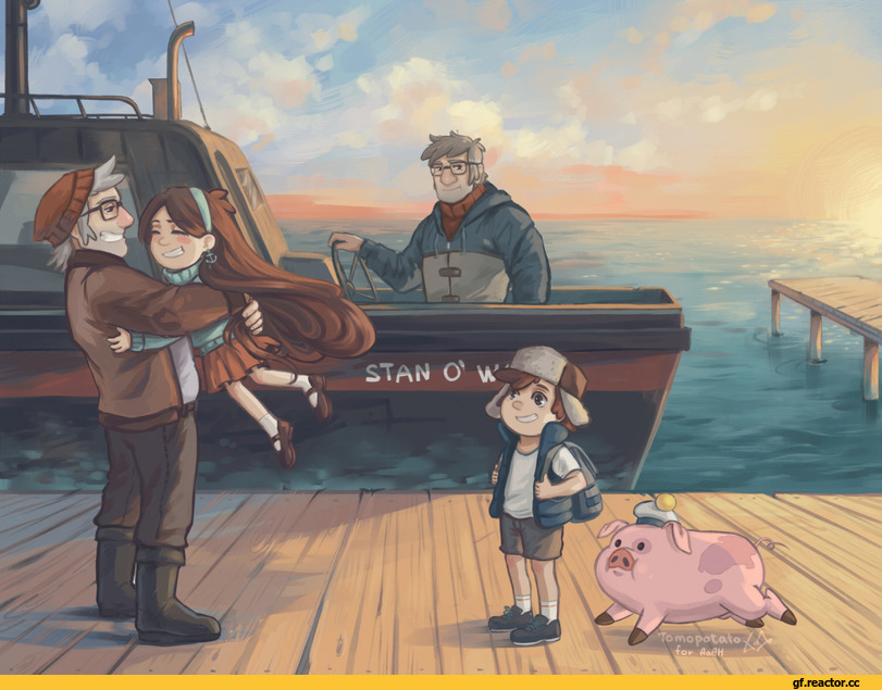 л ^ р b j,Stanley Pines,GF Персонажи,Gravity Falls,фэндомы,Mabel Pines,Stanford Pines,Dipper Pines,Waddles,GF art,tomopotato