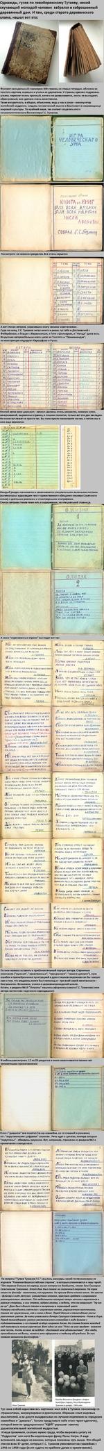 Однажды, гуляя по левобережному Тутаеву, некий скучающий молодой человек забрался в заброшенный деревянный дом. И там, среди старого деревенского хлама, нашел вот это: Фолиант самодельный: примерно 300 страниц из старых тетрадок, обложка из толстого картона, корешок и уголки из дерматина. У страни