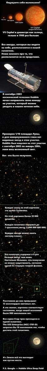 Ощущаете себя маленьким? KW Sagitarii V354 Cephei VV Cephei (Largest Star Known) VV Cephei в диаметре как солнце только в 1900 раз больше Все звезды, которые вы видите на небе, располагаются в нашей галактике. Ниже немного про то, что располагается за ее пределами. В сентябре 2003 космическ