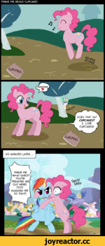 PINKIE PIE READS CUPCAKES \ PINKIE PIE, WHAT GIVES?! YOU'RE FREAKING ME OUT HERE! STOP HUGGING ME SO TIGHT! 20 MINUTES LATER