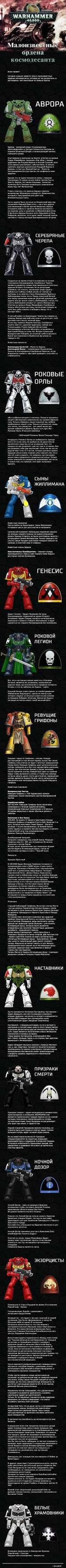 SERAPH.W MIR ордена космодесанта Всем привет! Сегодня я решил завести тему о малоизвестных орденах космодесанта, которые не так раскручены и распиарены, как некоторые их боевые братья. АВРОРА Аврора - дочерний орден Ультрамаринов, обосновавшийся в Секторе Сегментум Ультима на планете Огненны