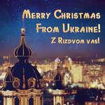 """Merry Christ/ms . JL , * * • *• , ' • """" • : ' ; I Prova Ukraine! ж . . fLtfp , *e , il TL RizDvom vas!"""