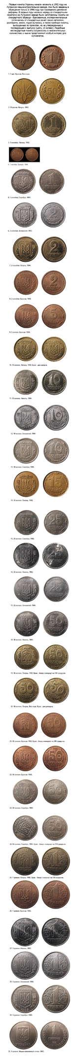 Первые монеты Украины начали чеканить в 1992 году на Луганском машиностроительном заводе. Они были введены в обращение только в 1996 году при проведении денежной реформы. В первые годы чеканки наряду со стандартными монетами на Луганском заводе были изготовлены монеты не стандартного образца - брак