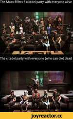 The Mass Effect 3 citadel party with everyone alive The citadel party with everyone (who can die) dead