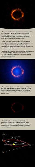 Механизм гравитационного линзирования позволил увидеть и сфотографировать весьма отдаленную от нас галактику. Благодаря астрономической наземной обсерватории ALMA, была получена фотография чрезвычайно отдаленной галактики SDP.81, которая выглядит как горящее кольцо. Яркая кольцевая структура являе