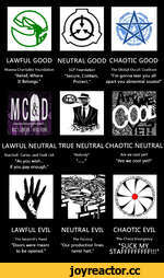 "LAWFUL GOOD NEUTRAL GOOD CHAOTIC GOOD Manna Charitable Foundation SCP Foundation The Global Occult Coalition ""Relief, Where ""Secure, Contain, Tm gonna tear you all It Belongs."" Protect."" apart you abnormal scums! Wo I ^ ' Ä# $ Ä.th LAWFUL NEUTRAL TRUE NEUTRAL CHAOTIC NEUTRAL Marshall, Cart"