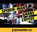 Spider-Man Grabs Coffee,Entertainment,Spider-Man,Starbucks,Coffee,Prank,Surprise,Hidden,Cameras,Web,Stunt,Customers,Reactions,Movie,NYC,Stan Lee,Drinks,Name,Spider-Man: Homecoming,Spidey,New Spiderman,Customers at a New York City Starbucks are in for a surprise when Spider-Man drops down on his web