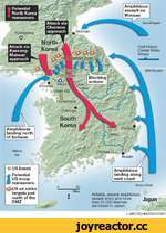 • /h * - Amphibious assault on Wonsan Potential North Korea maneuvers I IS Pyongyang Q Attack via Chorwon approach Sea of Japan Attack via Kaesong-Munsan approach 38th Parallel □ US bases i Potential US troop maneuvers v^-US air strike targets just north of the DMZ Korea Strait A