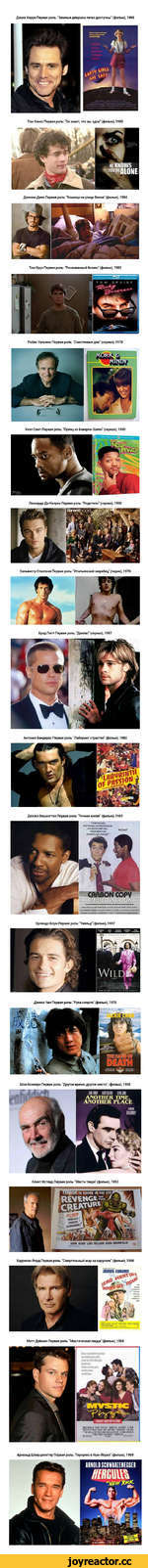 """Джим Керри Первая роль: """"Земные девушки легко доступны"""" (фильм), 1989 Том Хэнкс Первая роль: """"Он знает, что вы одни"""" (фильм), 1980 I Tuit) You То loci Тш 1Нч>«л Джонни Депп Первая роль: """"Кошмар на улице Вязов"""" (фильм), 1984 Том Круз Первая роль: """"Рискованный бизнес"""" (фильм), 1983 Робин Уильямс"""