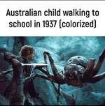 Australian child walking to school in 1937 (colorized)