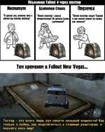 """Объяснение Fallout 4 через тостер Институт Братство Стали Подземка """"Я сделал его, потому что я хотел бы поесть тостов"""" """"Этот тостер-угроза человечеству! Он должен быть уничтожен!"""" """"Этот тостер зовут Тисрани и она имеет такие же права, как человекГ Тем временем в Fallout New Vegas Тостер - э"""
