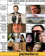 ANY JAMES BOND MOVIE CLINTON'S RELEASE Known womanizer as hero. Flights to foreign, exotic locations. Foreign enemy witl comical deformity or flaw.. Bond Girls. Miserable asexual white woman calling the shots.
