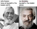 John Huston Voice of Gandalf in The Hobbit (1977) Ian McKellan Gandalf in The Hobbit (2012)